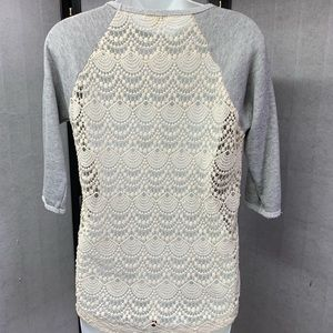 Tops - T18- 20. Gray Top Lace Inserts